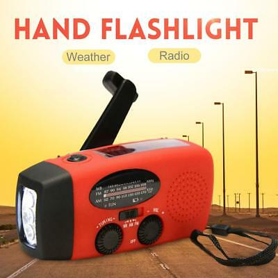 Emergency Hand Crank Generator Solar  Weather Radio Flashlight Cell Charge+