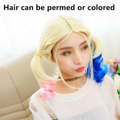 Harley Quinn Wig for Cosplay Synthetic Hair Curly Pink Blue Costume Full Wigs Z1