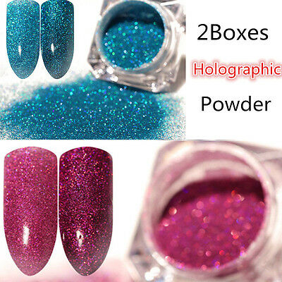 2Boxes Holographic Glitter Nail Powder Dust Holo Laser Nail Art Manicure Tips