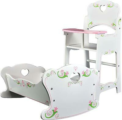Dolls Wooden High Chair and Rocking Cradle Cot Bed Doll Furniture Set