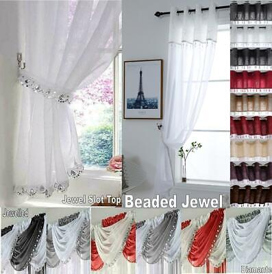 Diamante JEWELLED Glitter Sequin Sparkle Voile Swag Beaded Jewel Curtain Panel
