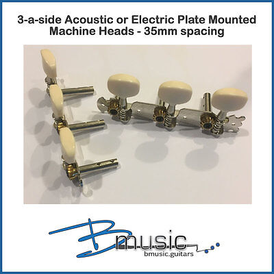Acoustic or Electric 3-a-side Plate Mount Machine Heads - 35mm Spacing