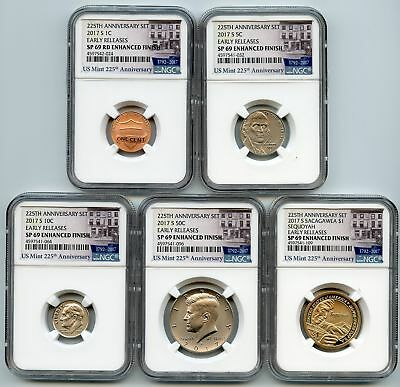2017 S Enhanced Uncirculated Minor Set (5 coins) NGC SP69 Early Releases