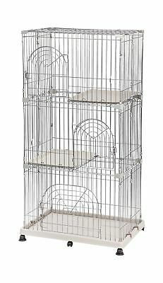 IRIS 301776 Heavy-Duty Molded Base Powder Coated Wire Gray 3-Tier Wire Pet Cage