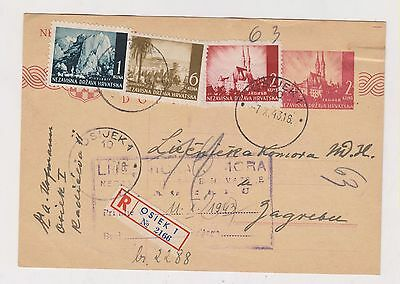 CROATIA,WW II, registred  postal stationery, OSIJEK  1943 #