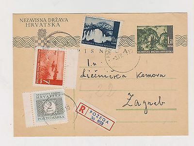 CROATIA,WW II, registred  postal stationery, POZEGA  1943 #