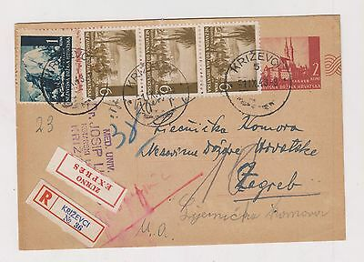 CROATIA,WW II, registred priority postal stationery, KRIZEVCI  1943 #