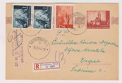 CROATIA,WW II, registred  postal stationery, GRUBISNO POLJE  1943 #