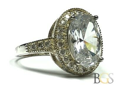 Beautiful & Elegant Ladies Sterling Silver Large Oval CZ Ring - Size 10