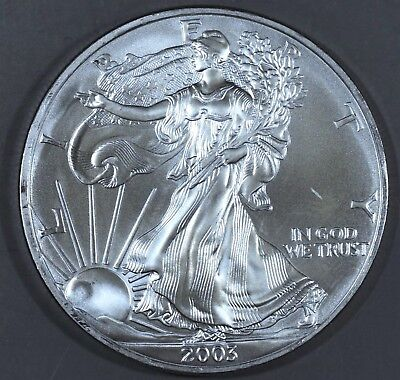 2003 1 oz AMERICAN SILVER EAGLE BRILLIANT UNCIRCULATED ASE  SKU2003B