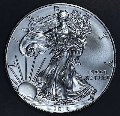 2012 1 oz AMERICAN SILVER EAGLE BRILLIANT UNCIRCULATED ASE  SKU2012B