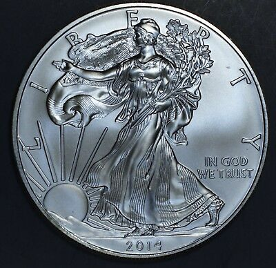 2014 1 oz AMERICAN SILVER EAGLE BRILLIANT UNCIRCULATED ASE  SKU2014B