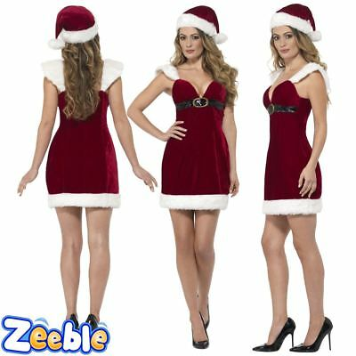 Womens Santa Costume Adult Sexy Miss Christmas Fancy Dress Ladies Xmas Outfit