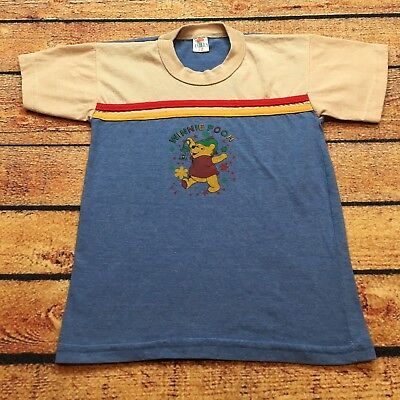80s VTG WINNIE THE POOH Striped DISNEY T Shirt Toddler Boys 5T 90s Colorblock