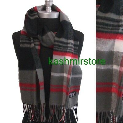 Mens Winter Warm 100%CASHMERE Scarf Black/Gray/Red Soft SCOTLAND Wool Plaid Wrap