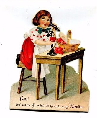 Vintage Valentine card Mechanical Girl on Candlestick Telephone Eyes Move