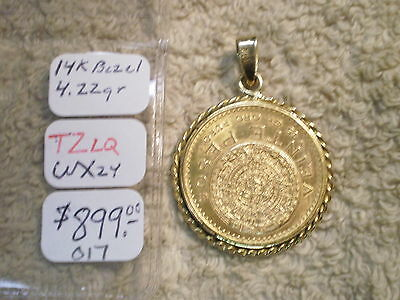 1859 Gold Mexican Veinte Pesos With 14K Gold Bezel
