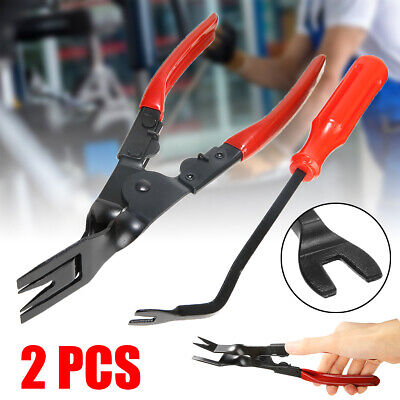 2pc Car Door Upholstery Trim Clip Removal Plier Tool Combo Dash Panel Moulding