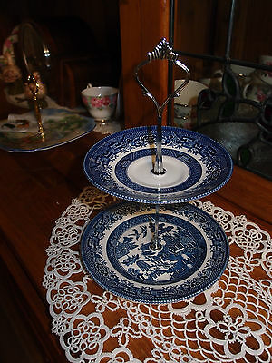Vintage Blue willow biscuit trinket high tea stand 2 tier