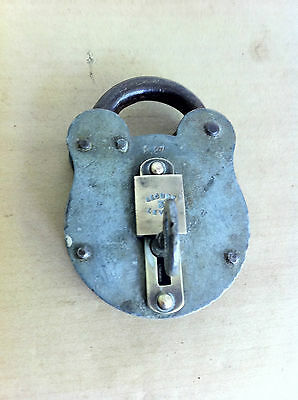 LOVELY OLD LARGE STEEL & BRASS PADLOCK & KEY 3.8 inches