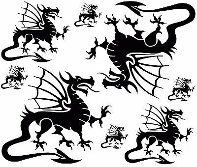 """Welsh Dragons 1"""" to 4"""" on a 5"""" X 7"""" Card Black Fused Glass Decals 17CC872"""
