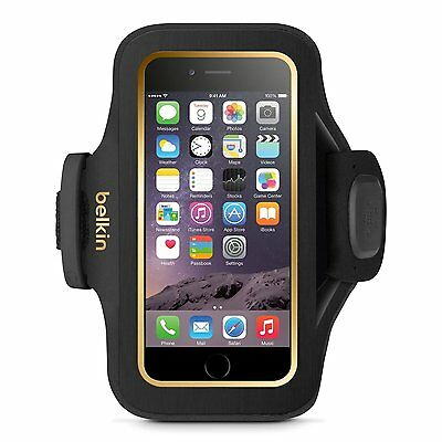 Belkin Slim-Fit Plus Fitness Armband for Apple iPhone 6 iPhone 6s Black/Gold