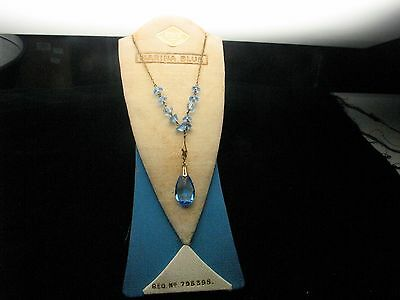Original Vintage Mid 20th Century Rolled Gold Necklace Blue Stone & Display Card
