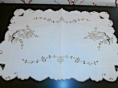 OFF WHITE LINEN with MADEIRA EMBROIDERY TRAY CLOTH OR SMALL CLOTH vintage
