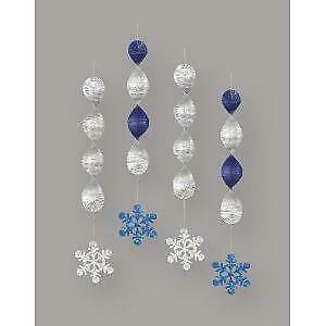 Blue & Silver Snowflake Hanging Christmas Decorations x 4