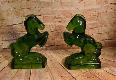 Green Glass Bookends Pair Rearing Horses Vintage LE Smith Great Condition