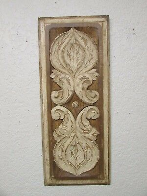 Antique Old Door Carved Panel-Mexican-Antique-Primitive-Vintage-11.5 x 28-White