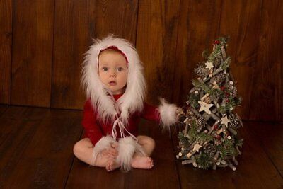 Christmas Photography Baby Girl Romper Prop,Dark Red,Stretch Lace,White Fur Trim