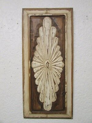 Antique Old Door Carved Panel-Mexican-Antique-Primitive-Vintage-12.5 x 28-White