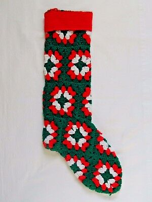Vintage Granny Square Knit Christmas Stocking Green Red White
