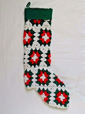 Vintage Granny Square Knit Christmas Stocking White Green Red