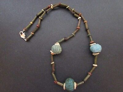 NILE  Ancient Egyptian Faience Melon Amulet Mummy Bead Necklace 600 BC