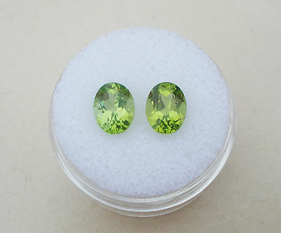 Peridot Oval Loose Faceted Natural  Gem Pair 8x6mm each