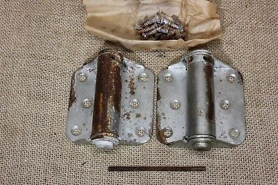 2 Screen Door Hinges adjustable spring tension RUSTY vintage Stanley USA MADE!