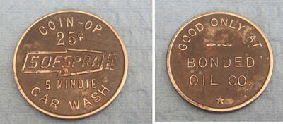 Vintage SOFSRA Brass Token 25 Cents 5 Minutes;  Good At BOUNDED OIL CO
