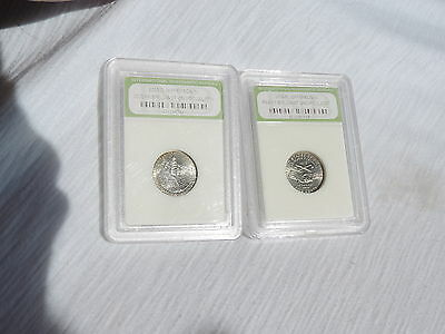 BRILLIANT UNCIRCULATED COINS 2 US NICKLES GRADED 2004p & 2005d JEFFERSON