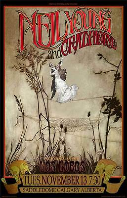 Neil Young Los Lobos Poster Saddledome Calgary New Hand-Signed by Bob Masse