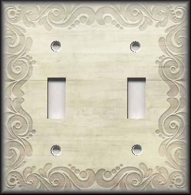 Metal Light Switch Plate Cover - Swirl Frame Wood Image - Vintage Tan Decor