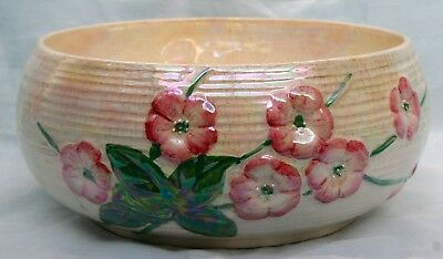 Vintage Maling Lustre Ware Fruit Bowl Stamped Numbered Raised Floral Decoration
