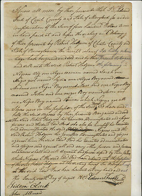 1802 Legal Document Sale Of Seven Negro Boys Cecil County Maryland