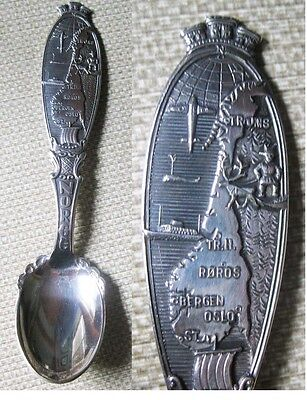 T. K. 40Gr Norway Norge Silverplate Souvenir Spoon Map Airplane Ship Handle L@@k