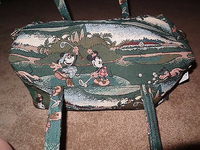 Vintage RARE The Walt Disney Company Mickey Playing Golf Tapestry Luggage