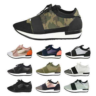 New Ladies Womens Designer Style Bali Runner Lace Up Trainers Sneakers Shoes