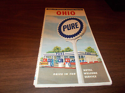 1957 Pure Oil OHIO Vintage Road Map / 57-A