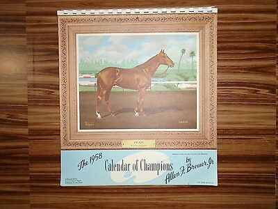 1958 Lithograph Horse Racing Wall Calendar for Turf and Sport Digest Baltimore