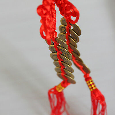 FENG SHUI FORTUNE Coin Red Hanging Cure NEW Wealth Good Luck Prosperity Lo